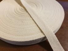 Twill ribbon, color: natur, width: 15mm, 1 roll: 50m