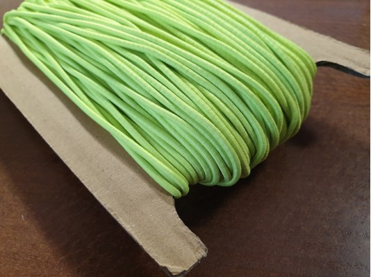 Elastic cord, color: neon green, diameter: 2.5mm, 1 roll: 50m