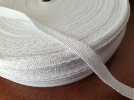 Twill ribbon, color: white, width: 10mm, 1 roll: 250m