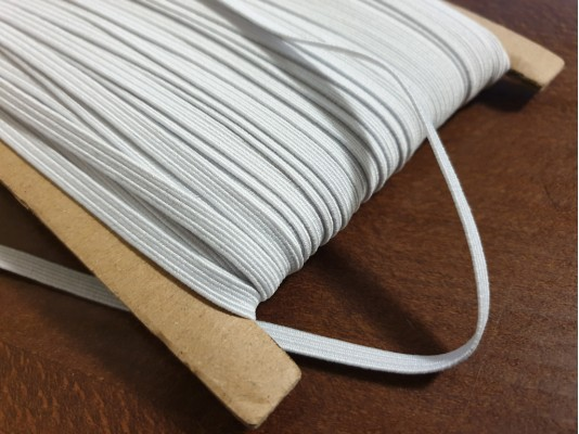 Elastic ribbon (narrow), color: white, width: 6.5mm, 1 roll: 50m, unitprice: 28,0 Ft/meter*