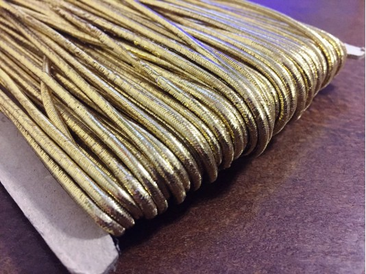 Elastic cord, color: gold, diameter: 2.5mm, 1 roll: 50m