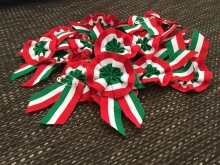 Cockade without cellophane, color: hungarian nation, diameter of head: 45mm, 1 box: 10pc, unitprice: 42,9 Ft/piece*