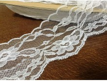 Synthetic lace, color: white, width: 75mm, 1 roll: 25m