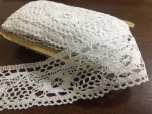 Cotton lace, color: white, width: 60mm, 1 roll: 10m, unitprice: 173,0 Ft/meter*