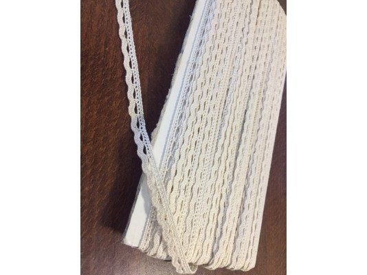 Cotton lace, color: ecru, width: 8mm, 1 roll: 25m, unitprice: 138,0 Ft/meter*