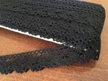 Cotton lace, color: black, width: 25mm, 1 roll: 25m, unitprice: 138,0 Ft/meter*