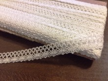 Cotton lace, color: white, width: 15mm, 1 roll: 25m, unitprice: 138,0 Ft/meter*
