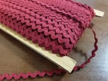 Rickrack, cotton, color: claret, width: 8mm, 1 roll: 50m, unitprice: 25,0 Ft/meter*