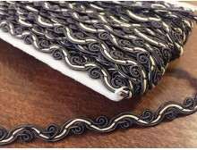 Braiding, color: darkbrown-natur, width: 9mm, 1 roll: 25m, unitprice: 125,0 Ft/meter*