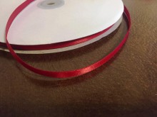 Satin ribbon, color: red, width: 6mm, 1 roll: 100m, unitprice: 12,0 Ft/meter*